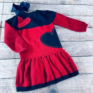Hartstrings sz4 heart print LS sweater dress & bow